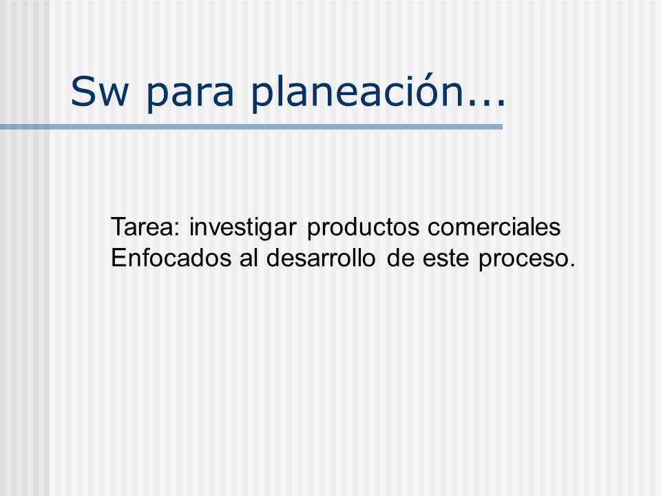 Sw para planeación... Tarea: investigar productos comerciales