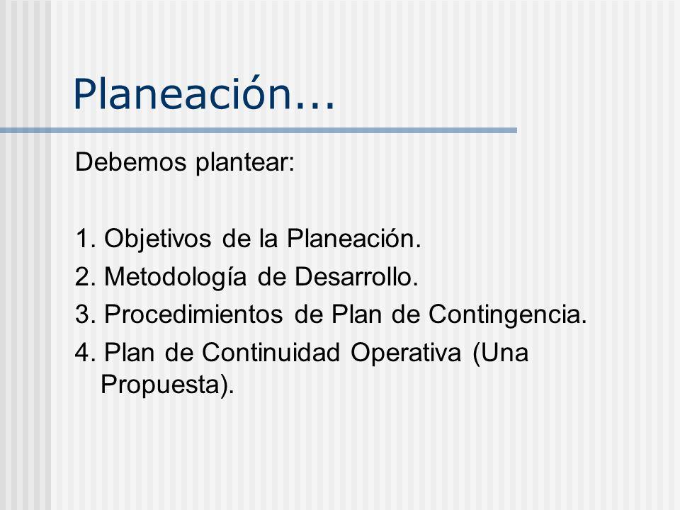 Planeación... Debemos plantear: 1. Objetivos de la Planeación.