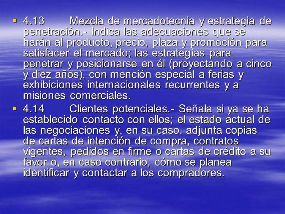 4. 13. Mezcla de mercadotecnia y estrategia de penetración
