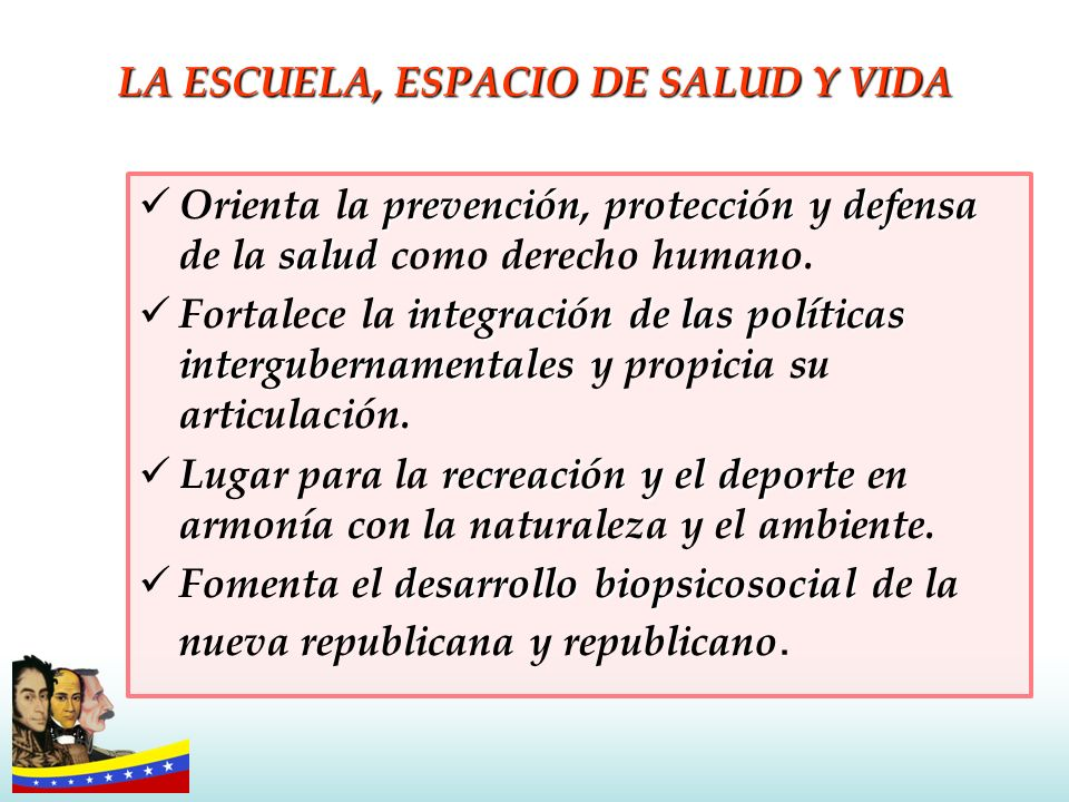 LA ESCUELA, ESPACIO DE SALUD Y VIDA