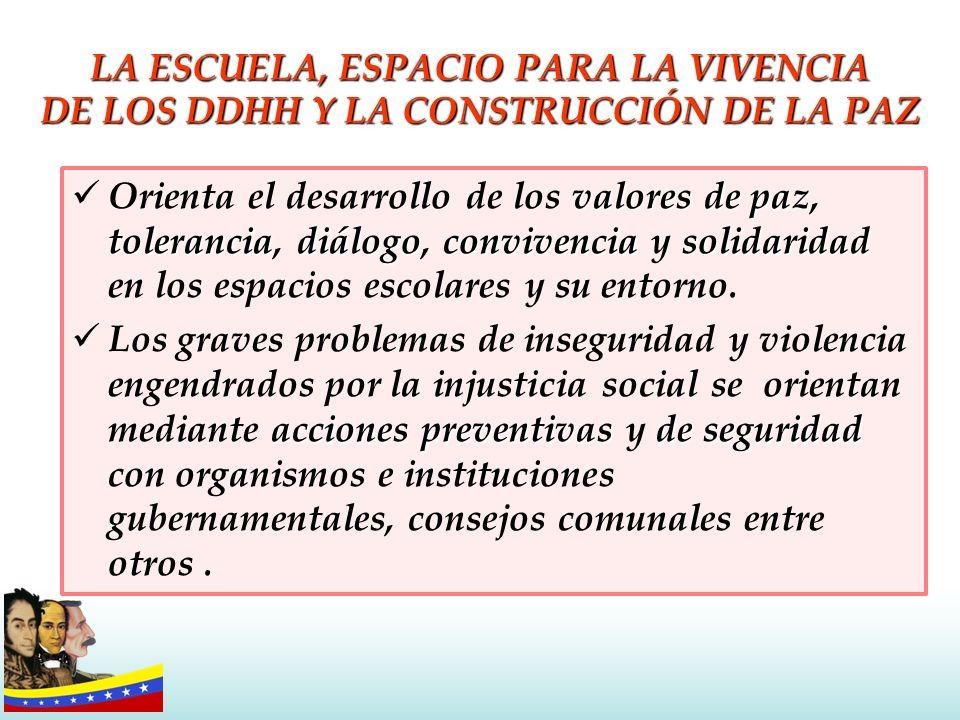 LA ESCUELA, ESPACIO PARA LA VIVENCIA DE LOS DDHH Y LA CONSTRUCCIÓN DE LA PAZ