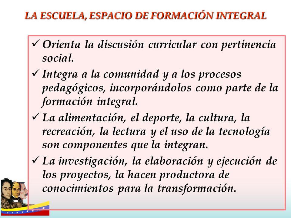 LA ESCUELA, ESPACIO DE FORMACIÓN INTEGRAL