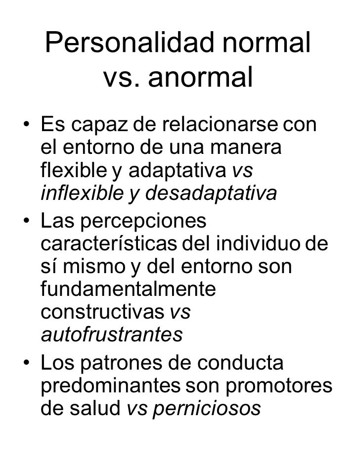 Personalidad normal vs. anormal