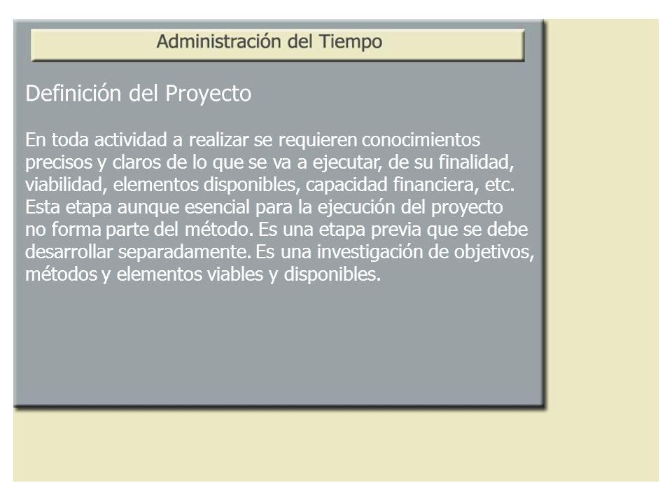 Definición del Proyecto En toda actividad a realizar se requieren conocimientos