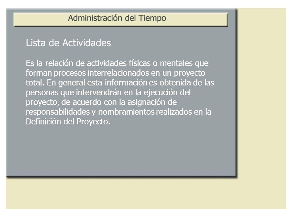 Lista de Actividades Es la relación de actividades físicas o mentales que