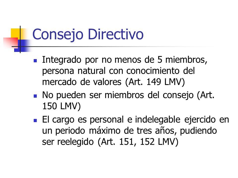 Consejo Directivo Integrado por no menos de 5 miembros, persona natural con conocimiento del mercado de valores (Art. 149 LMV)
