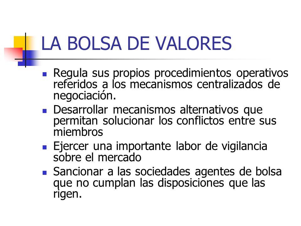 LA BOLSA DE VALORES Regula sus propios procedimientos operativos referidos a los mecanismos centralizados de negociación.