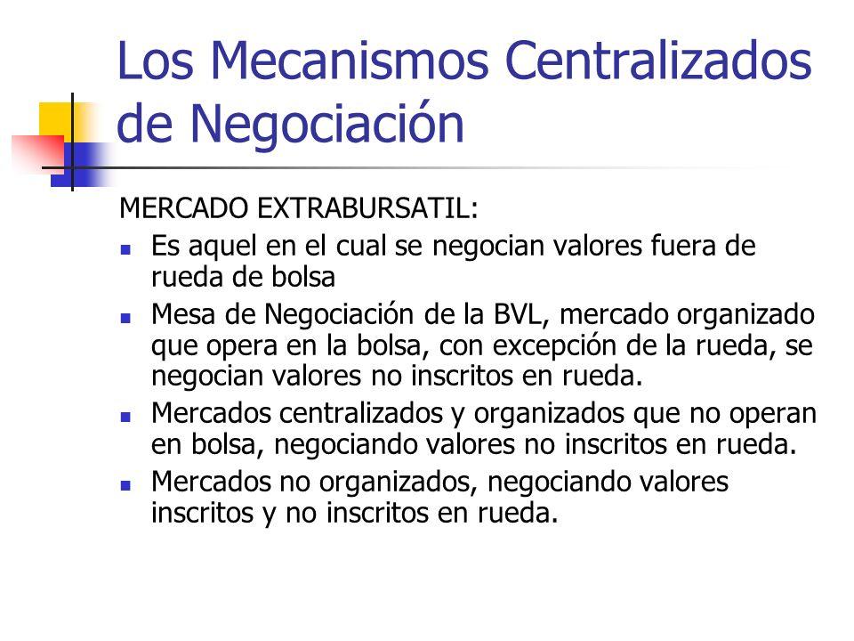 Los Mecanismos Centralizados de Negociación