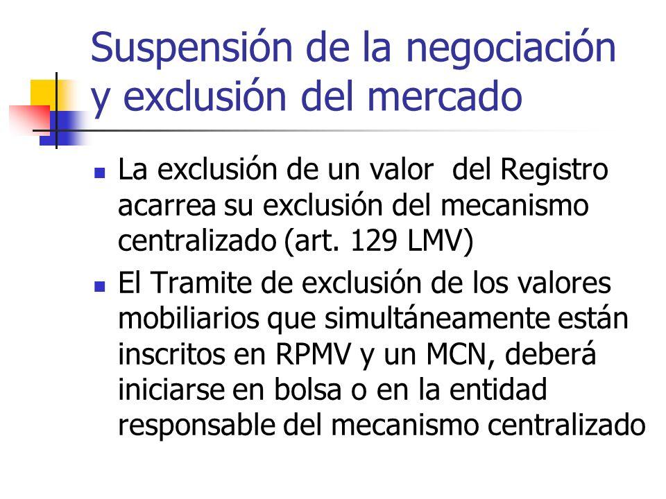 Suspensión de la negociación y exclusión del mercado