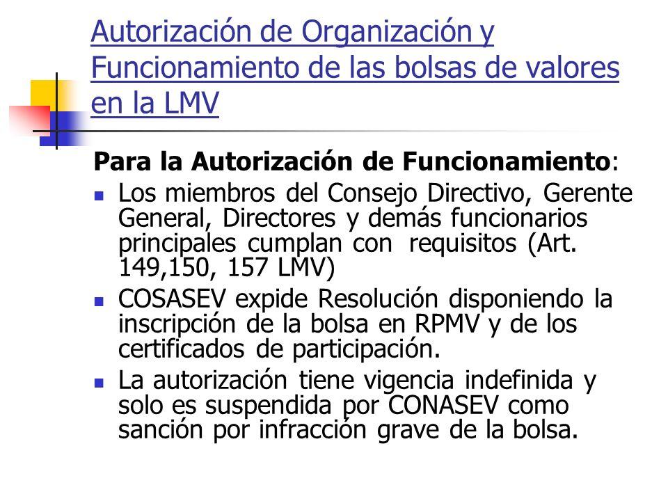 Autorización de Organización y Funcionamiento de las bolsas de valores en la LMV