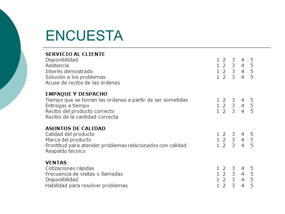ENCUESTA SERVICIO AL CLIENTE Disponibilidad 1 2 3 4 5