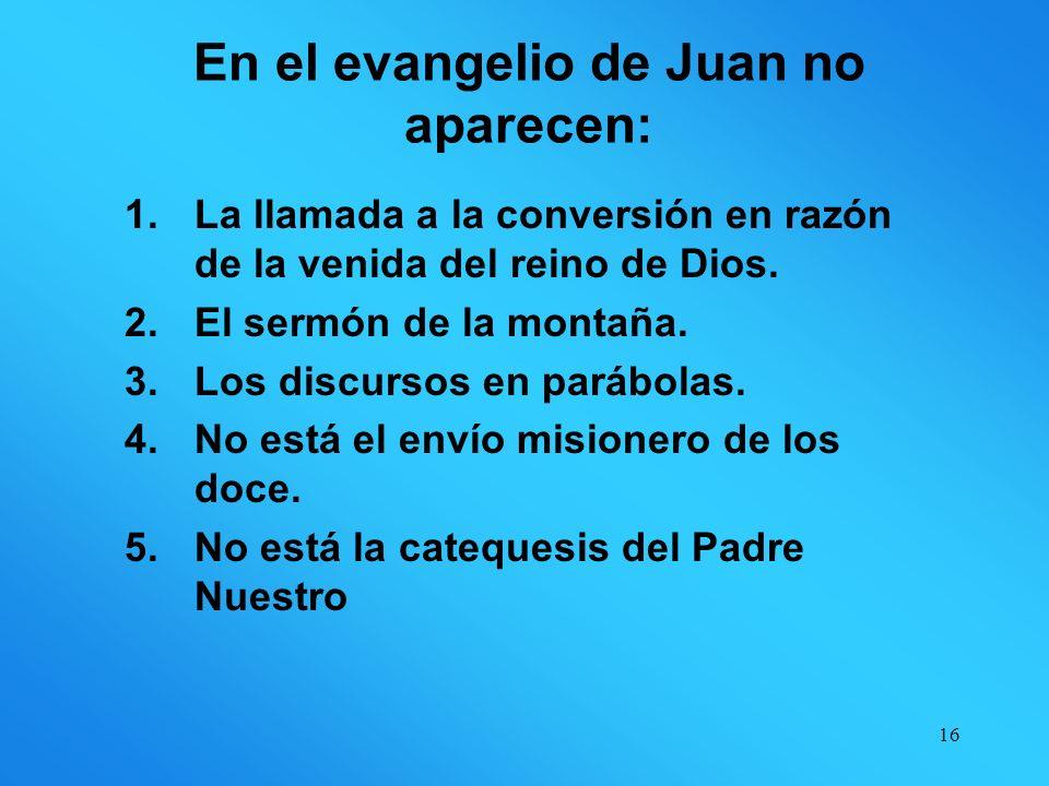 En el evangelio de Juan no aparecen: