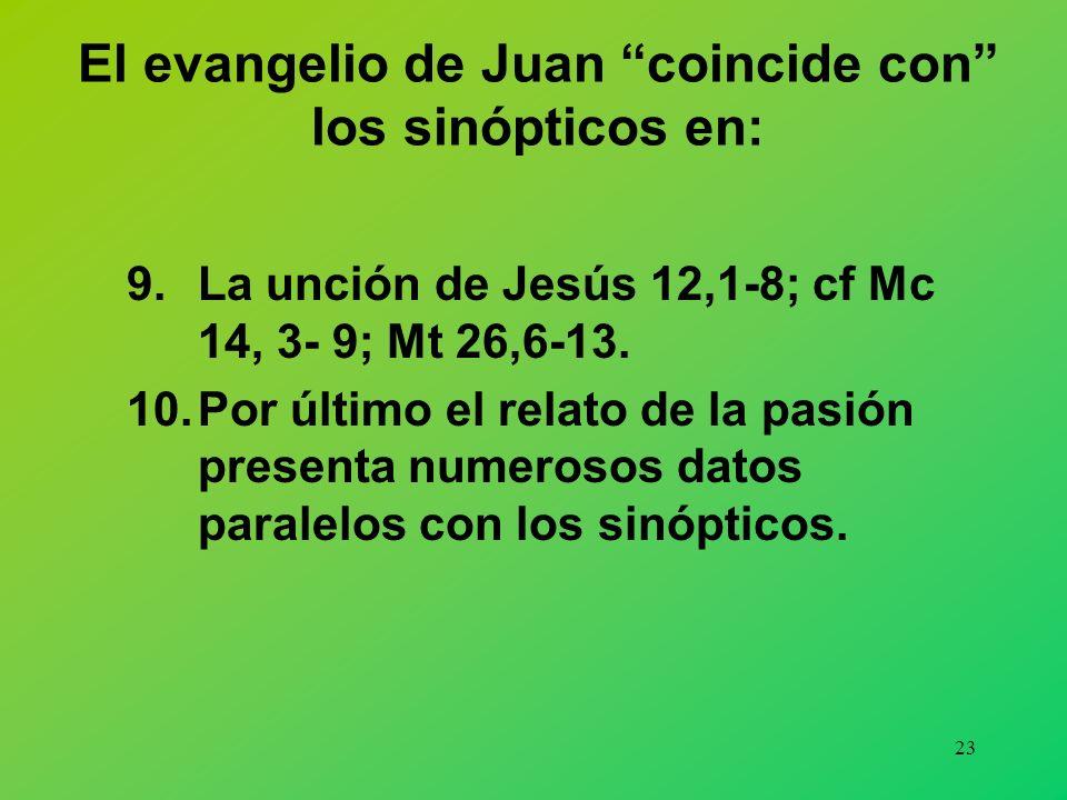 El evangelio de Juan coincide con los sinópticos en: