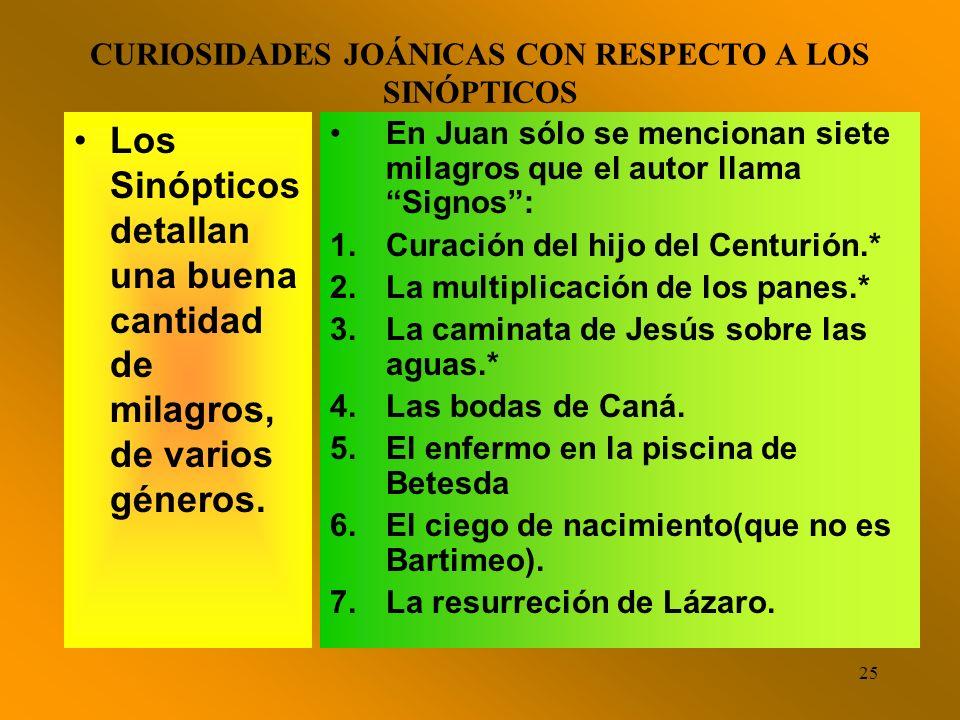 CURIOSIDADES JOÁNICAS CON RESPECTO A LOS SINÓPTICOS
