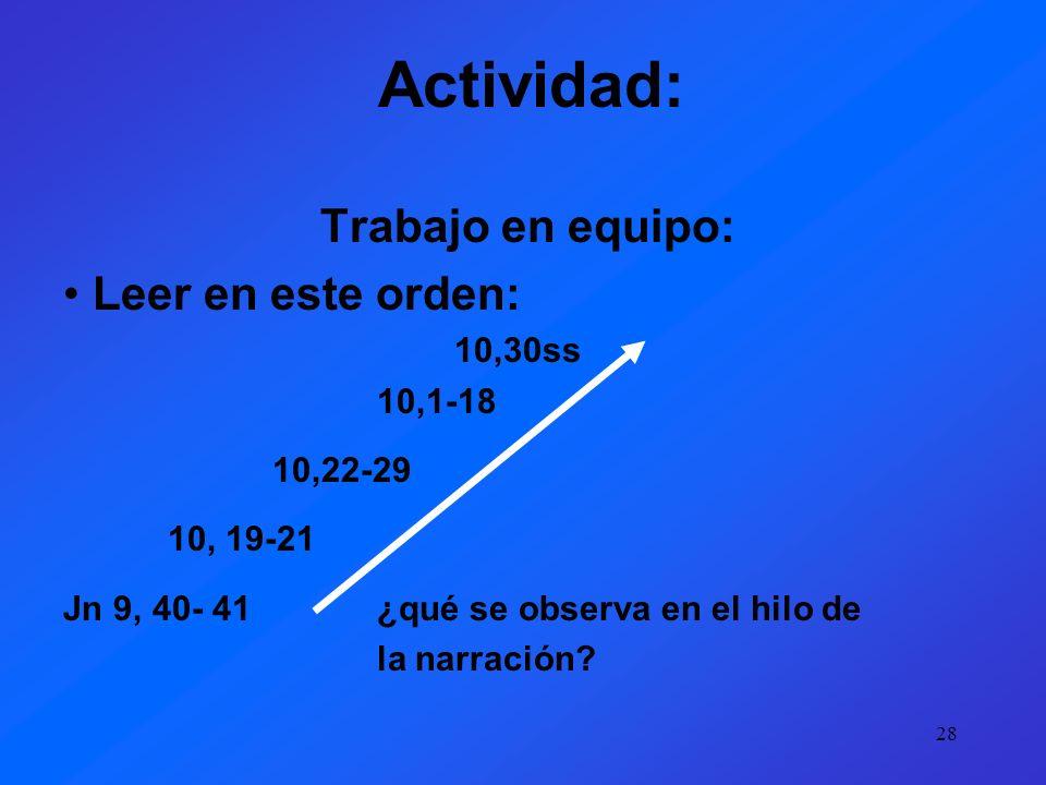 Actividad: Trabajo en equipo: Leer en este orden: 10,30ss 10,1-18
