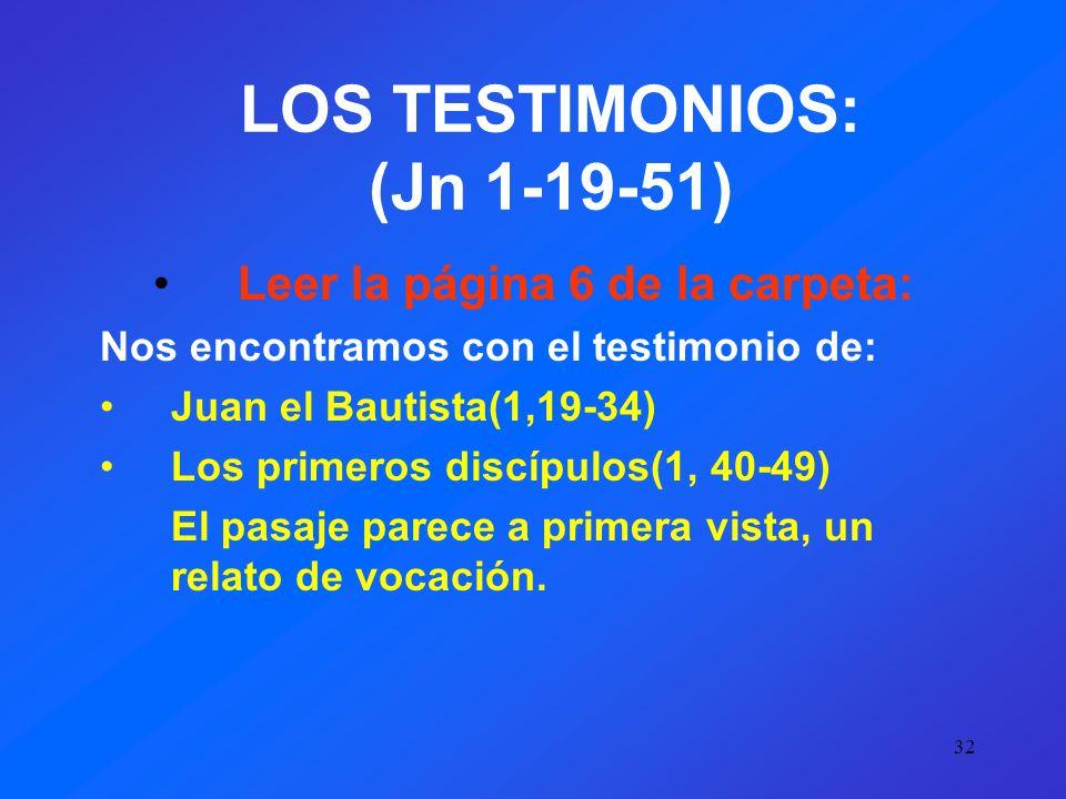 LOS TESTIMONIOS: (Jn 1-19-51)