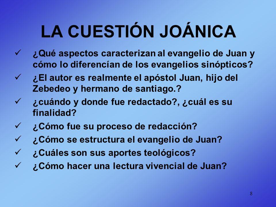 LA CUESTIÓN JOÁNICA ¿Qué aspectos caracterizan al evangelio de Juan y cómo lo diferencían de los evangelios sinópticos