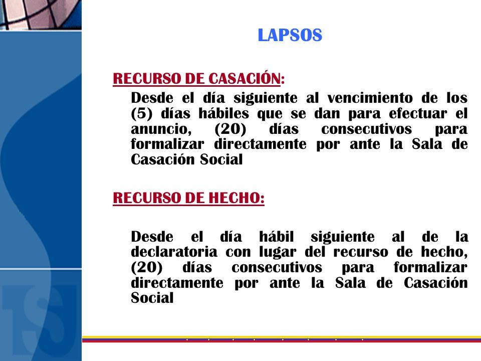 LAPSOS RECURSO DE CASACIÓN: