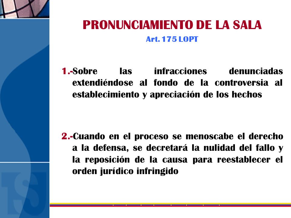 PRONUNCIAMIENTO DE LA SALA