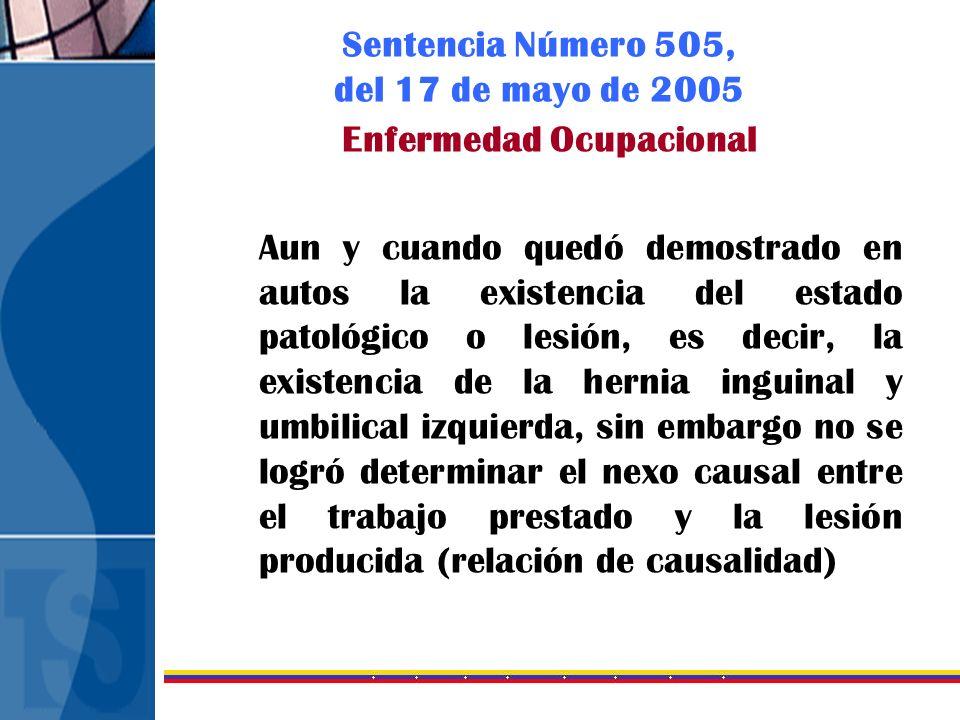Sentencia Número 505, del 17 de mayo de 2005