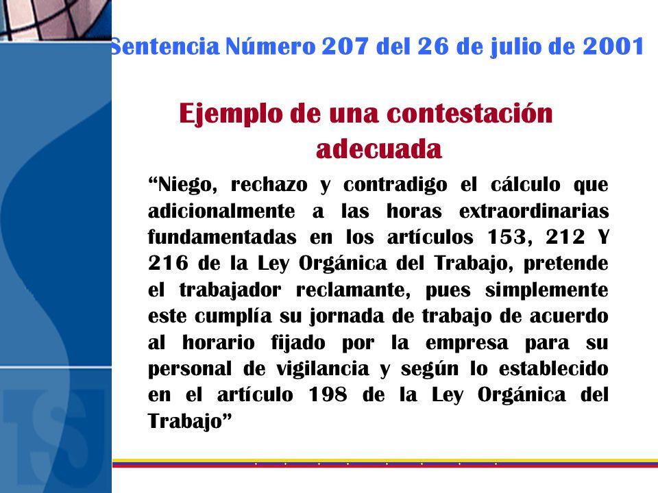 Sentencia Número 207 del 26 de julio de 2001