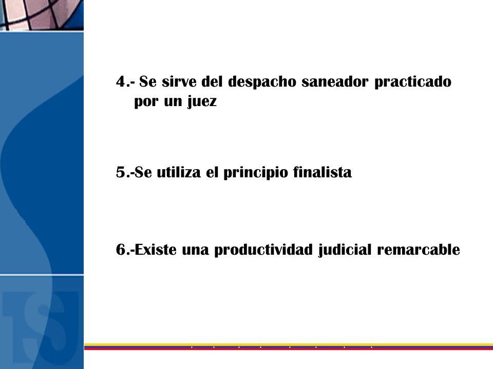 4.- Se sirve del despacho saneador practicado por un juez