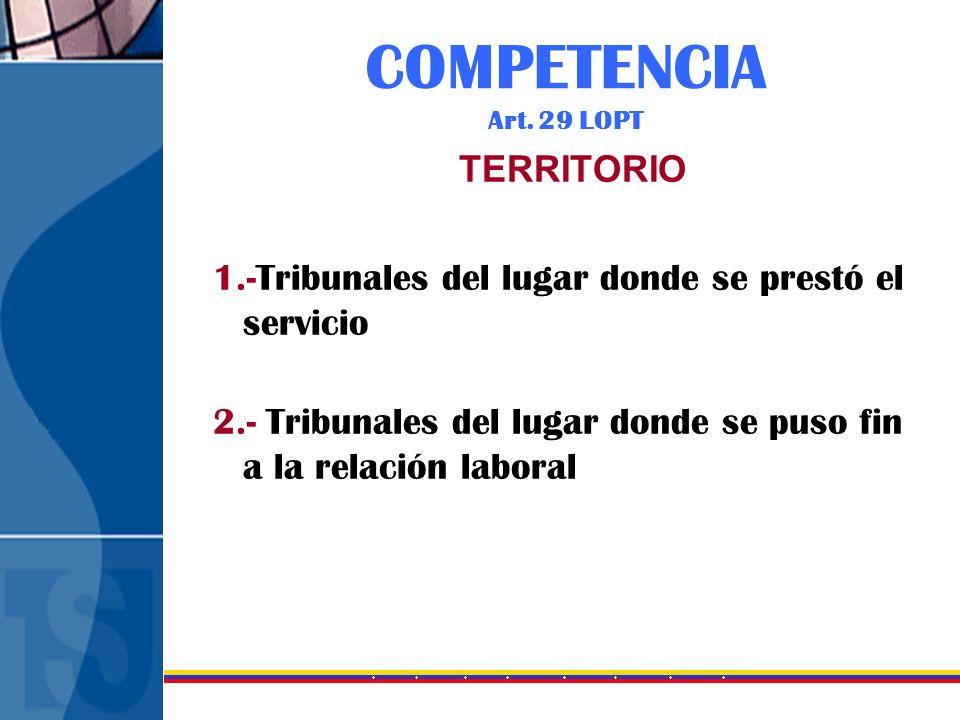 COMPETENCIA Art. 29 LOPT TERRITORIO