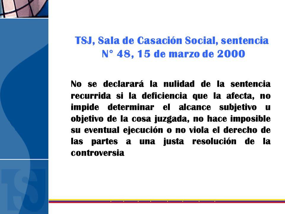 TSJ, Sala de Casación Social, sentencia N° 48, 15 de marzo de 2000