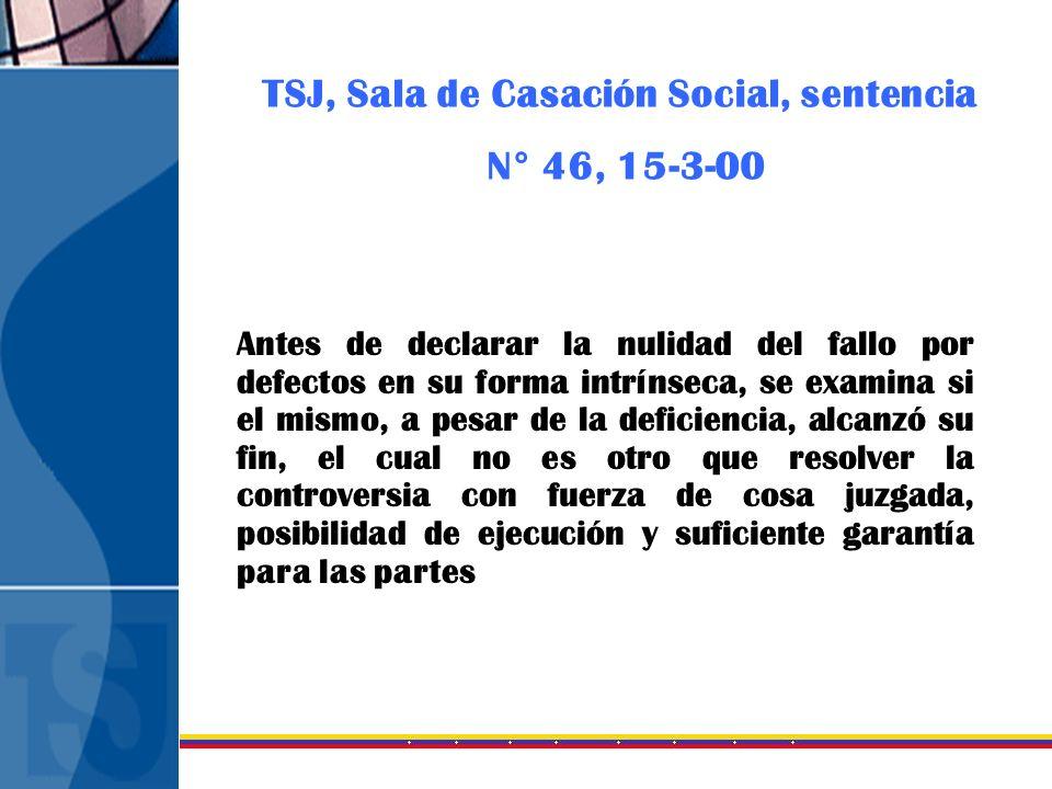 TSJ, Sala de Casación Social, sentencia N° 46, 15-3-00