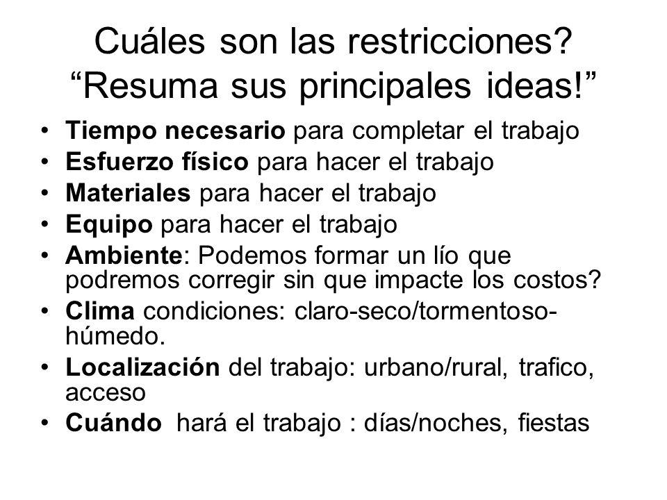 Cuáles son las restricciones Resuma sus principales ideas!