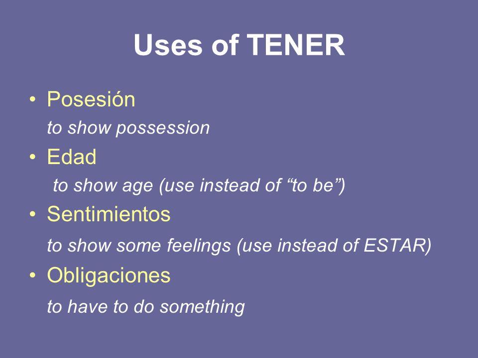 Uses of TENER Posesión Edad Sentimientos