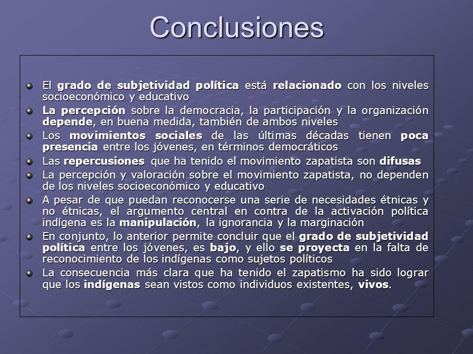 Conclusiones El grado de subjetividad política está relacionado con los niveles socioeconómico y educativo.