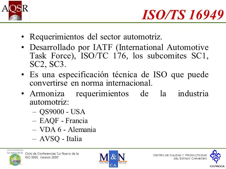 ISO/TS 16949 Requerimientos del sector automotriz.