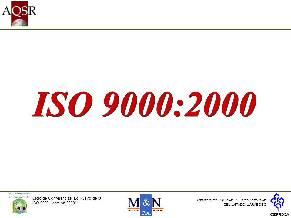 ISO 9000:2000 N M & C.A. Ciclo de Conferencias Lo Nuevo de la