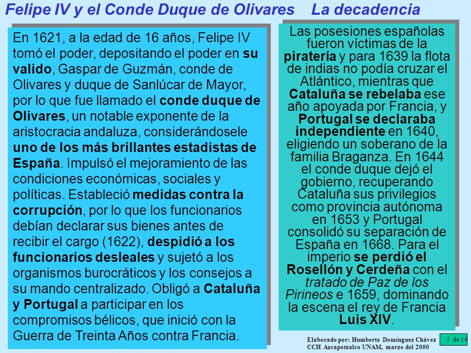 Felipe IV y el Conde Duque de Olivares La decadencia