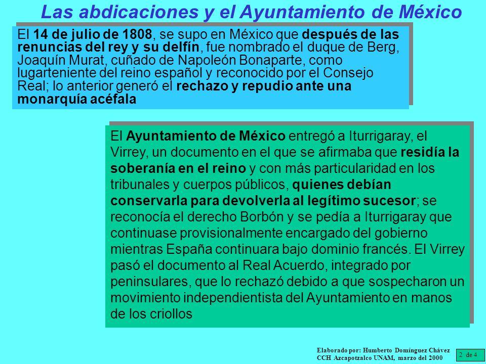 Las abdicaciones y el Ayuntamiento de México