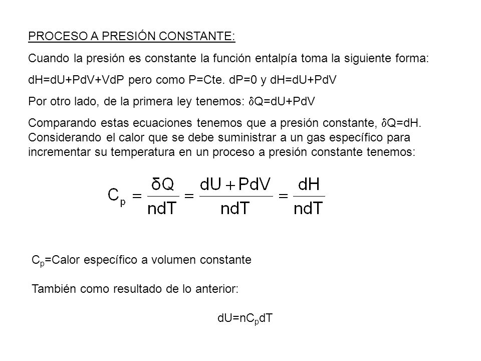 PROCESO A PRESIÓN CONSTANTE: