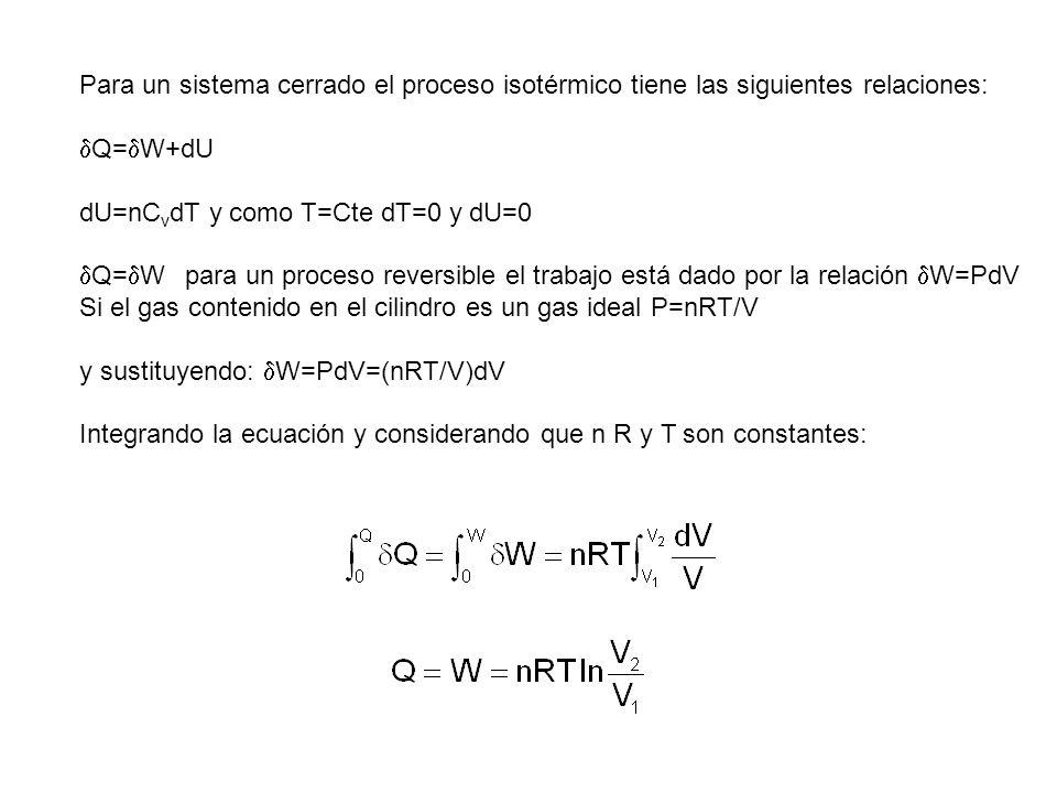 Para un sistema cerrado el proceso isotérmico tiene las siguientes relaciones: