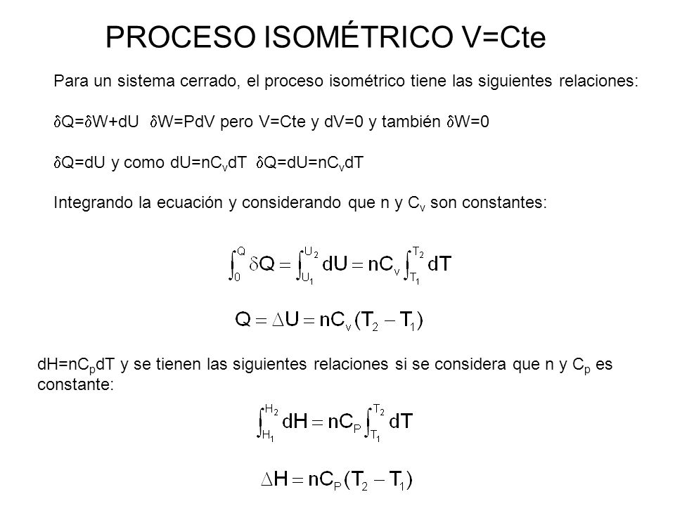 PROCESO ISOMÉTRICO V=Cte
