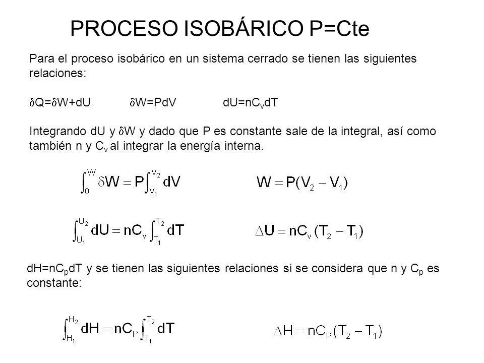 PROCESO ISOBÁRICO P=Cte