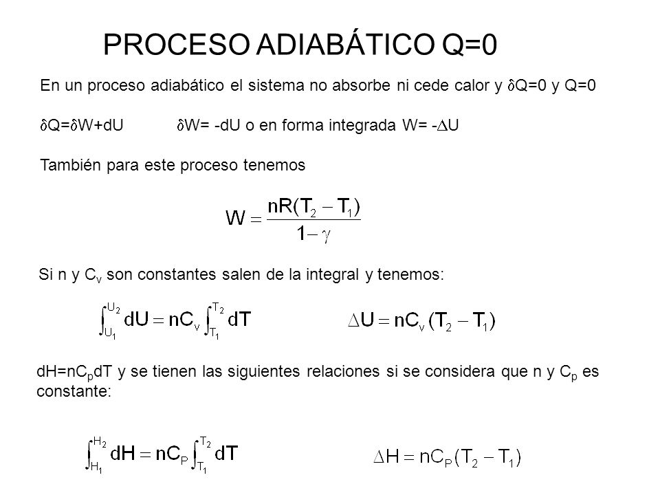PROCESO ADIABÁTICO Q=0 En un proceso adiabático el sistema no absorbe ni cede calor y Q=0 y Q=0. Q=W+dU W= -dU o en forma integrada W= -U.
