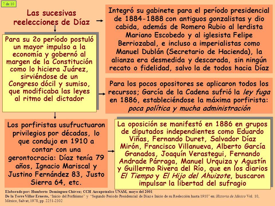 Las sucesivas reelecciones de Díaz