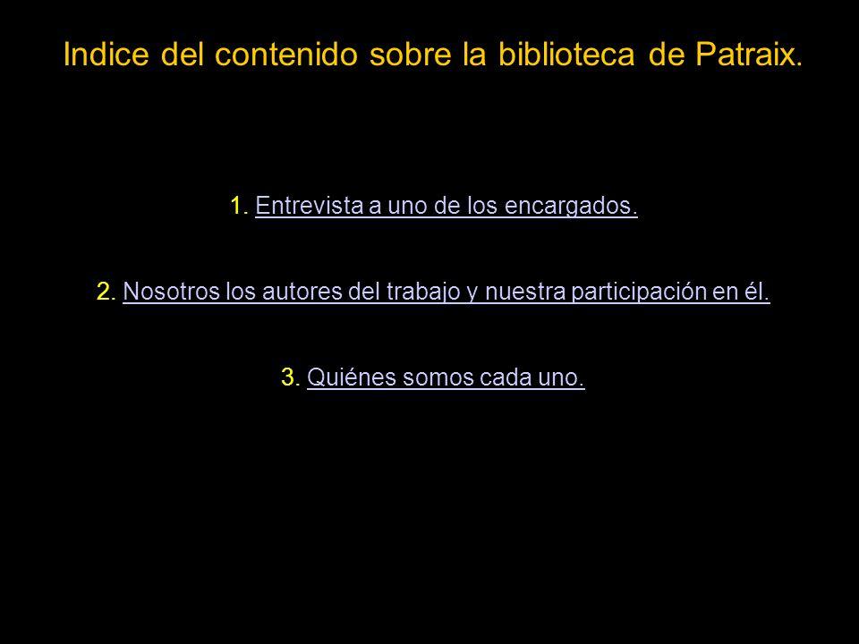 Indice del contenido sobre la biblioteca de Patraix.