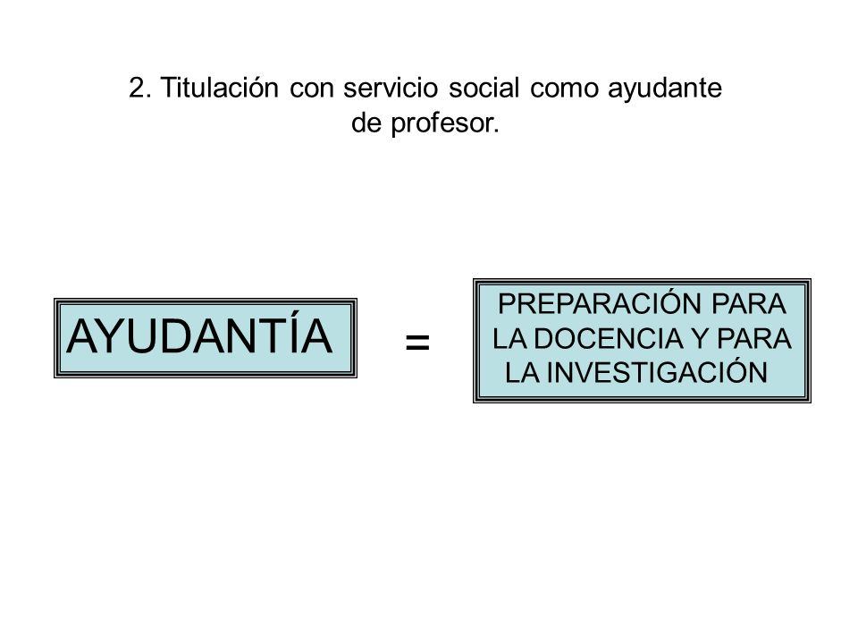 2. Titulación con servicio social como ayudante