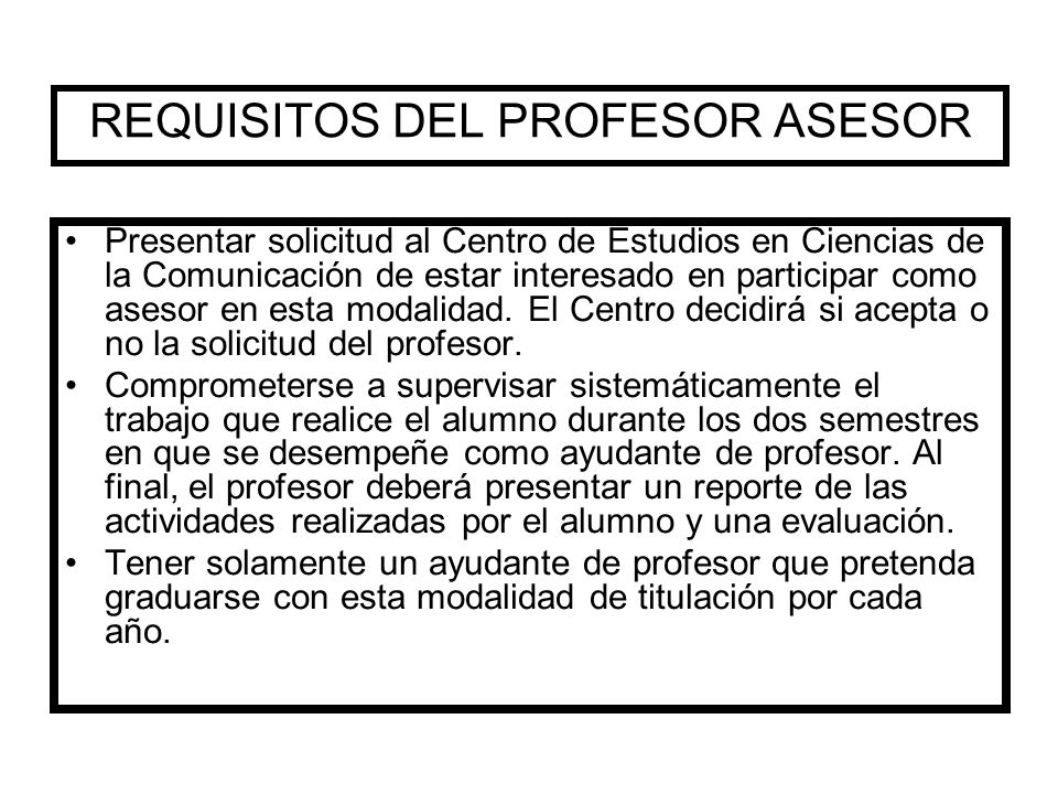 REQUISITOS DEL PROFESOR ASESOR