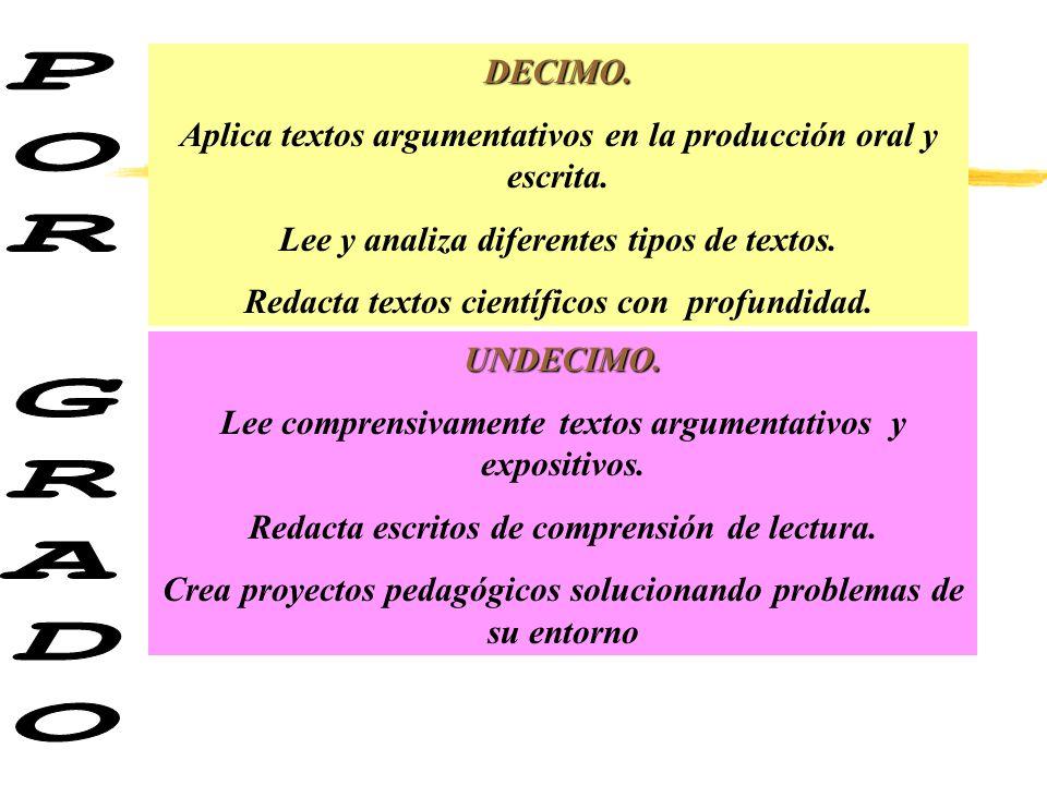 DECIMO. Aplica textos argumentativos en la producción oral y escrita. Lee y analiza diferentes tipos de textos.