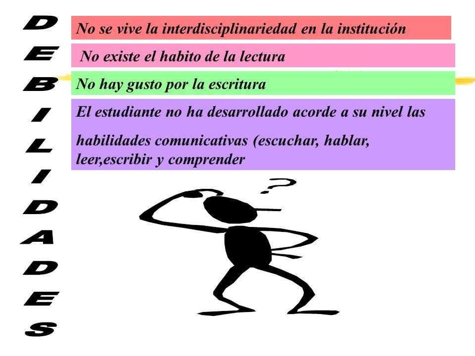 DEBILIDADES No se vive la interdisciplinariedad en la institución