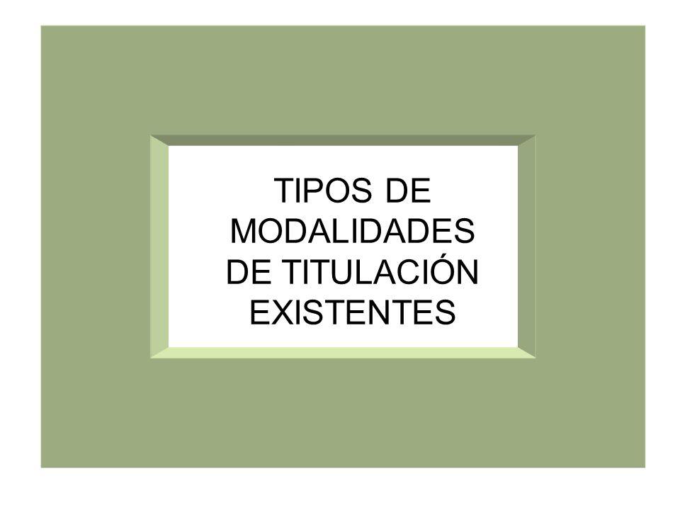 TIPOS DE MODALIDADES DE TITULACIÓN EXISTENTES