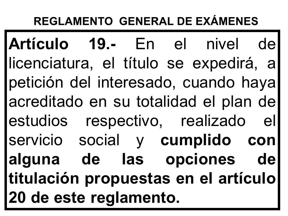 REGLAMENTO GENERAL DE EXÁMENES