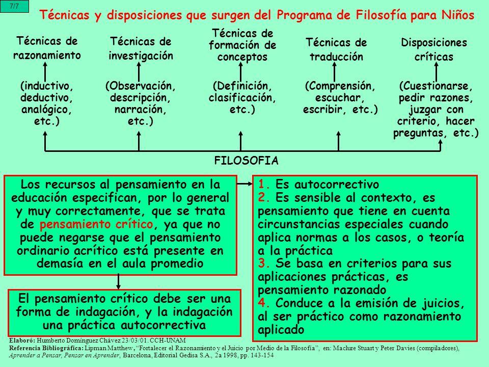 7/7 Técnicas y disposiciones que surgen del Programa de Filosofía para Niños. Técnicas de formación de conceptos.